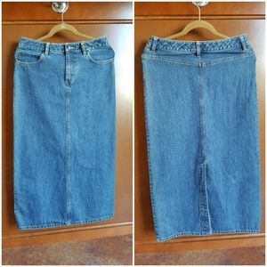EDDIE BAUER WOMENS LONG DENIM SKIRT SIZE 4-6